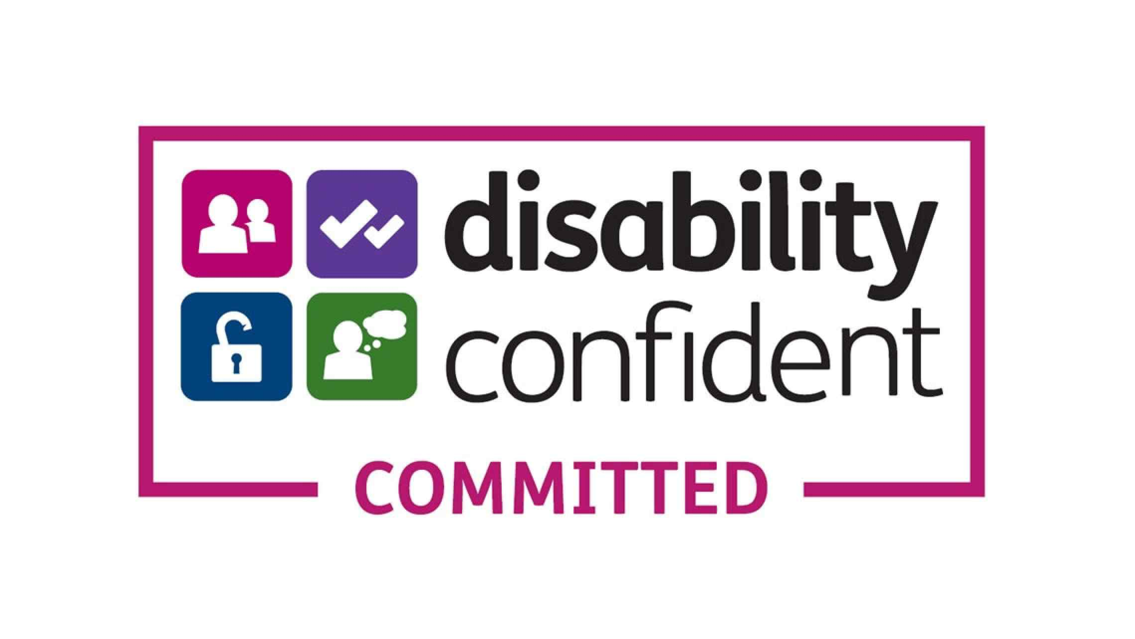 Disability confident logo that reads disability confident committed