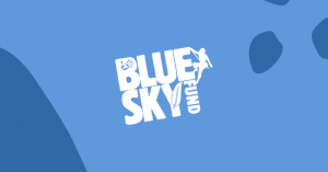 Blue Sky Fund logo. Blue image with white writing and image of a person climbing.